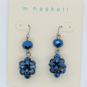 m. haskell Cluster Blue Faceted Beaded Earring